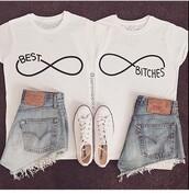 t-shirt,shirt,matching couples,white t-shirt,best bitches
