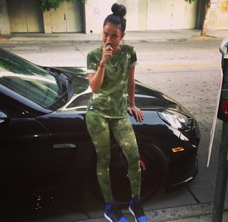 shirt camouflage karrueche t-shirt pants shoes tights red lime sunday camoflauge pants camo shirt