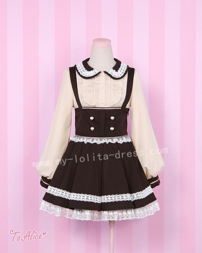 Sweet Lolita Shirt and Chocolate College School Style Pinafore Skrit Set $ 104.99-Cotton Lolita Dresses - My Lolita Dress