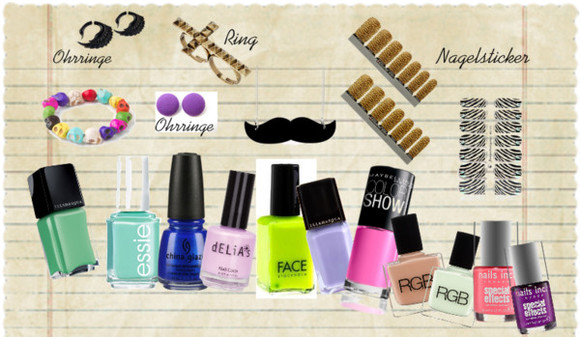 moustache jewels earrings bracelet ring necklace sticker nails nail polish