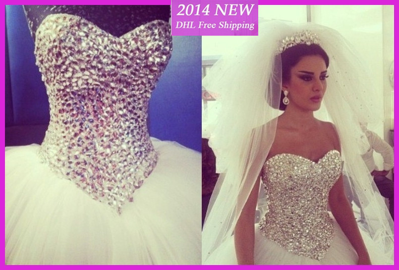2014New Style Sexy Corset Wedding Gowns Sweetheart With Crystal Beaded Open Back Tulle Wedding Dresses White Custom Made-in Wedding Dresses from Apparel & Accessories on Aliexpress.com | Alibaba Group