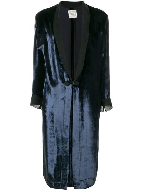jacket long women blue silk