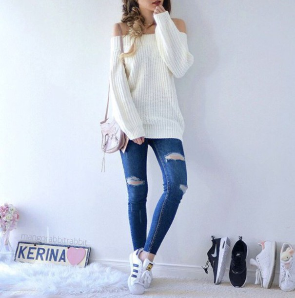jeans blue white cute outfit denim ripped jeans sweater sneakers adidas white  sweater oversized bag off 82f258f22