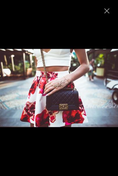skirt floral floral skirt crop tops bralette top skater skirt bag purse chanel chanel purse outfit floral skater skirt rose skirt spring skirt