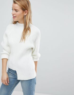 New Look Chunky Rib Step Hem Jumper at asos.com