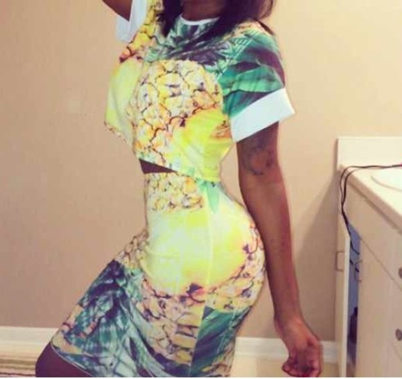 skirt two-piece cardigan pineapple print 2 piece outfit co ord crop tops skirts and tops