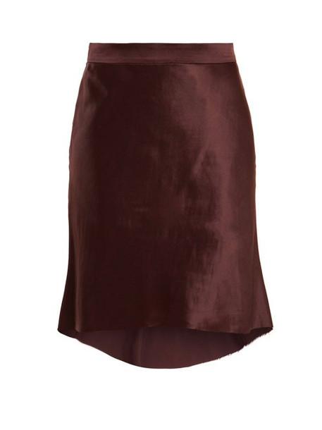 Raey - Bias Godet Silk Satin Slip Skirt - Womens - Burgundy