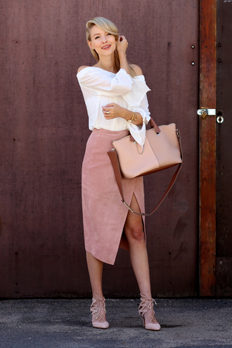ohh couture blogger shoes bag skirt blouse jewels