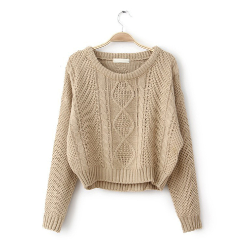 Khaki tan long sleeve round neck crop sweater