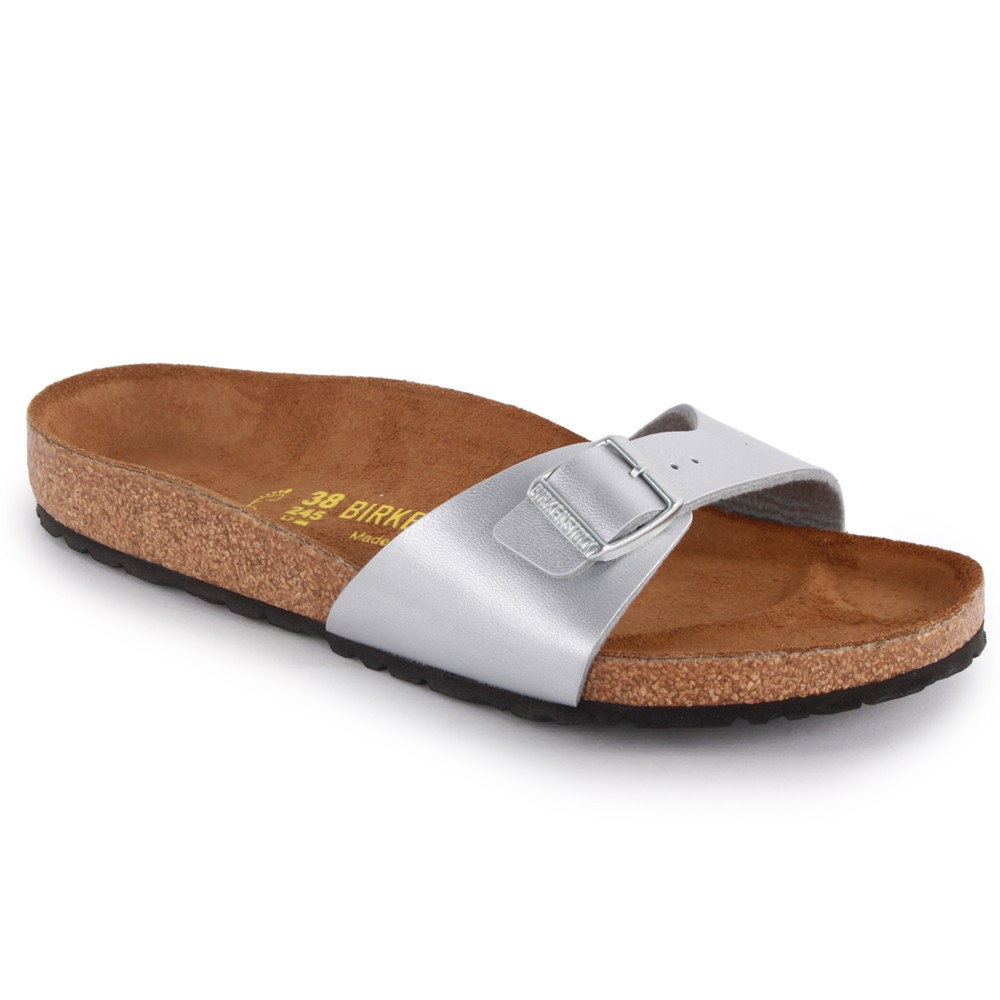 Birkenstock Madrid Womens Synthetic Leather Sandals Silver