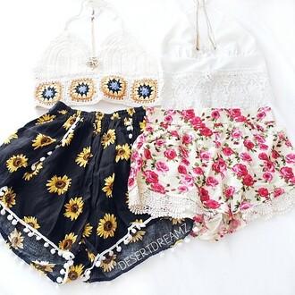floral floral shorts short flowers short navy
