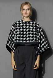 top,chicwish,houndstooth poncho,wool blend poncho,warm and chic