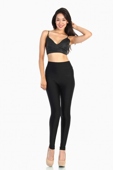 OMG Shiny Tricot High Waist Leggings - Black