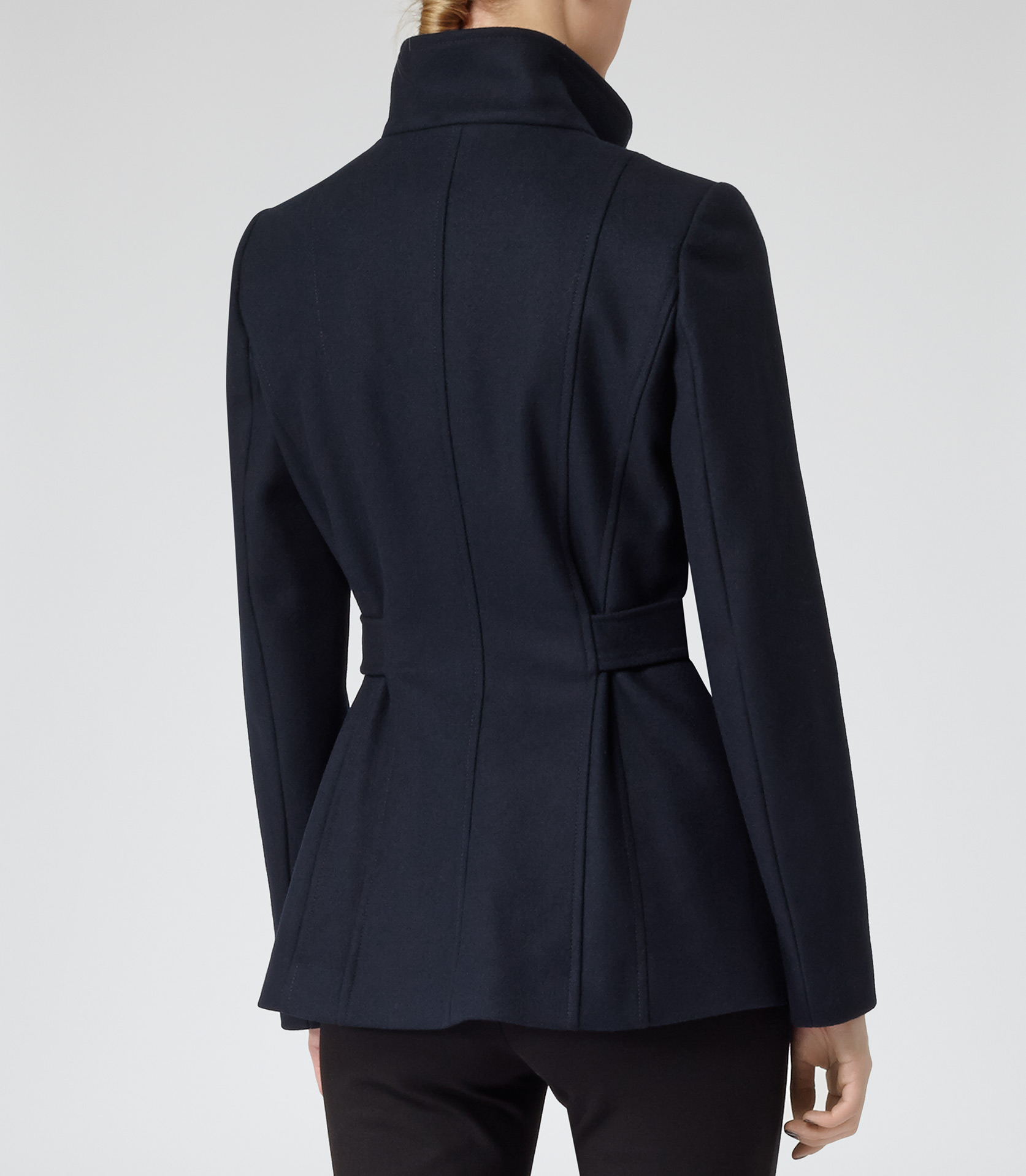 Hermitage Lux Navy Belted Wool Jacket - REISS