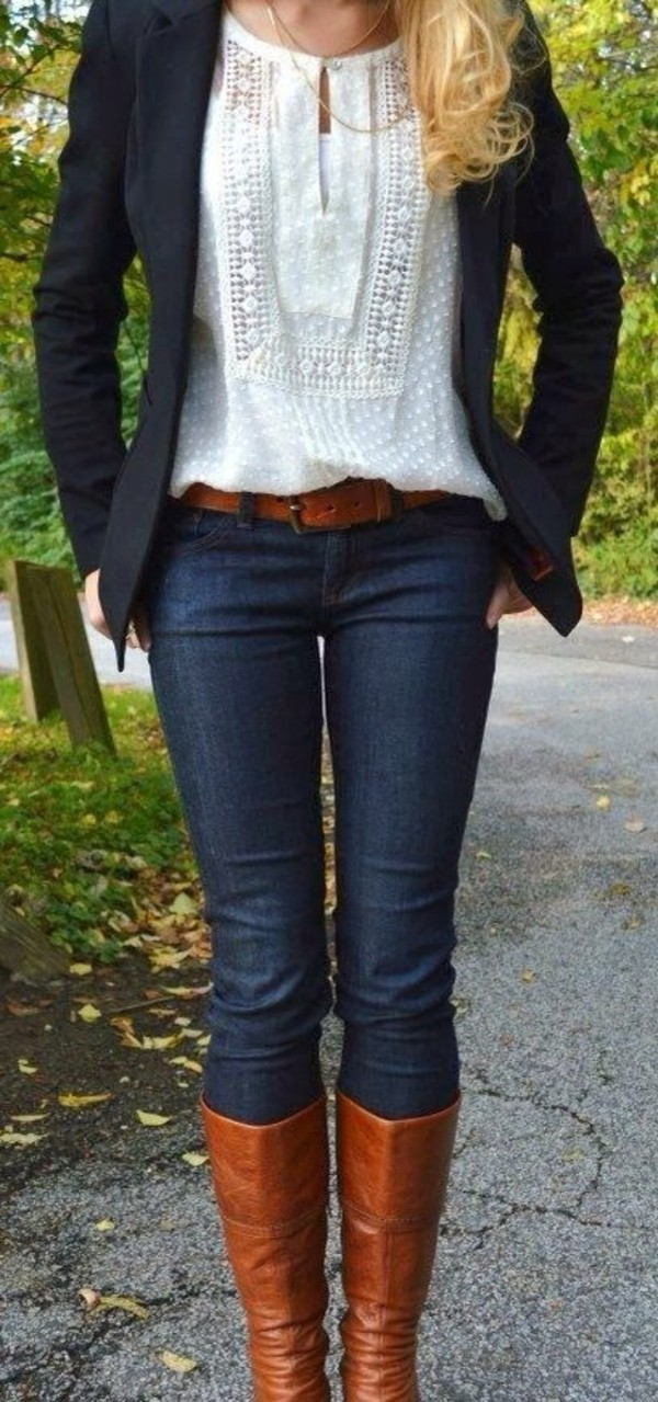 brown leather boots fall outfits riding boots white blouse blazer skinny jeans belt blouse college office outfits top clothes casual business casual women
