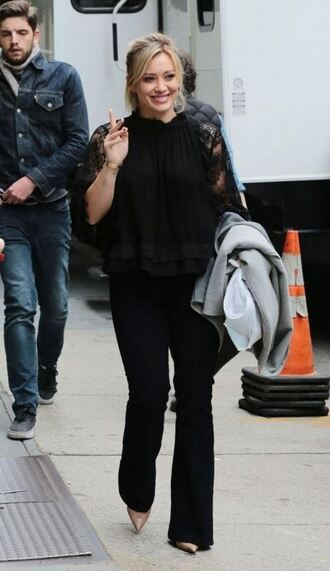 blouse pumps hilary duff fall outfits all black everything shoes