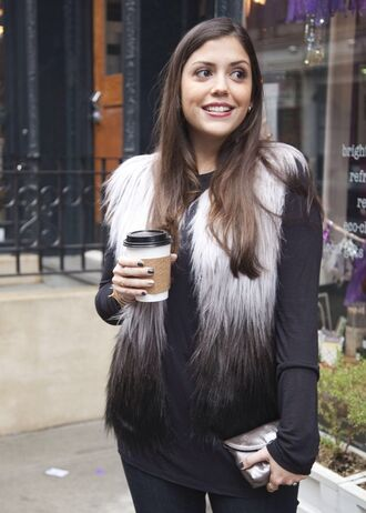 vest fur vest fur ombre ombré vest fur ombré grey black and white pretty hot faux fur vest shirt