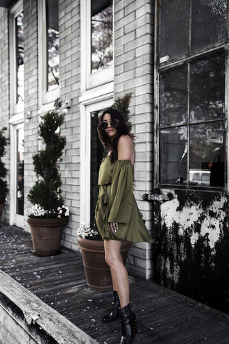 dress green dress tumblr olive green off the shoulder off the shoulder dress boots black boots ankle boots shoes sunglasses