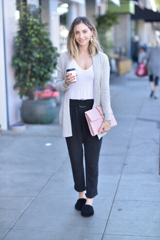 cupcakes and cashmere blogger cardigan tank top pants bag pink bag slippers grey cardigan black pants