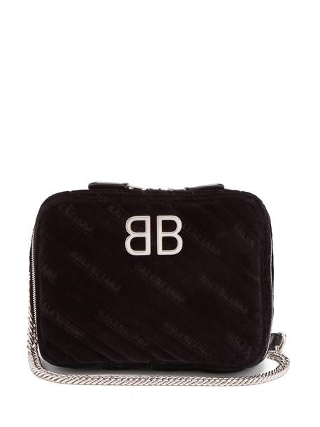 BALENCIAGA BB Reporter XS quilted-velvet bag in black
