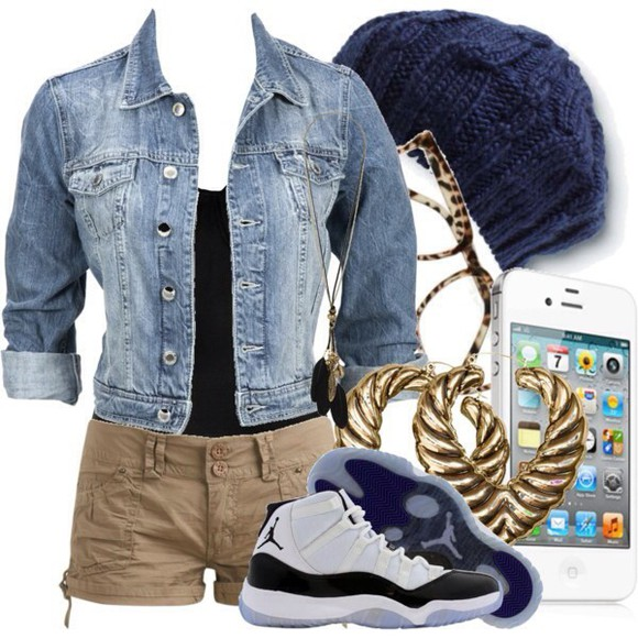 shoes jewels shorts jacket hat skirt jean jacket, jacket blue jordans white glasses sunglasses