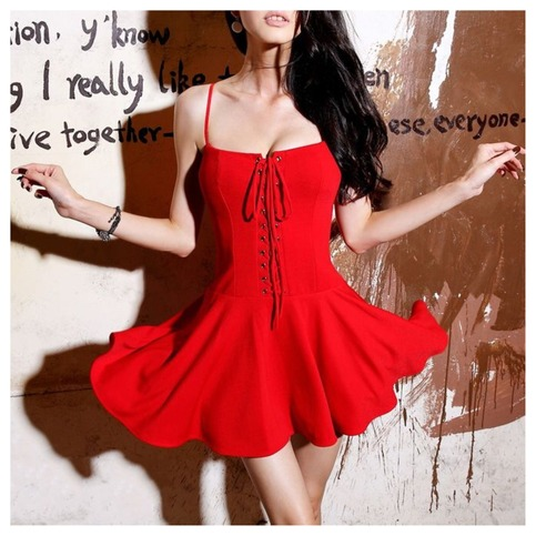 Sexy spaghetti strap laces up mini dress from doublelw on storenvy