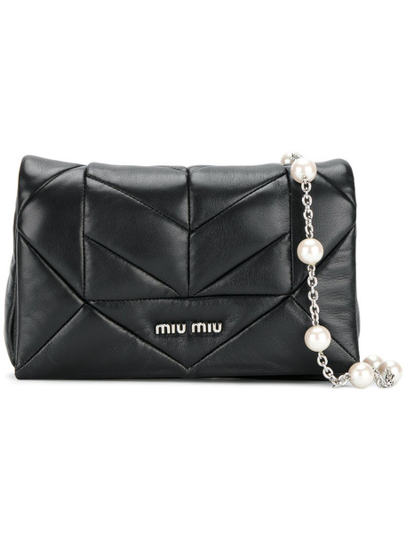 Miu Miu women quilted bag shoulder bag leather black