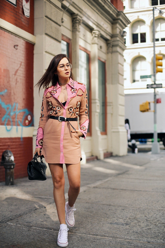 style scrapbook blogger shirt dress belt converse sneakers ysl bag western
