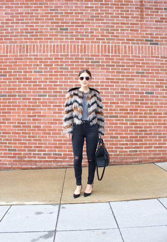 lana jayne blogger shirt faux fur jacket black ripped jeans