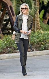 quality rivets,jeans,jacket,t-shirt,bag,shoes,julianne hough,army style,army green jacket,leather sleeves,pants,top,boots