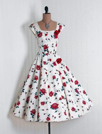 dress floral dress pretty dress! 40's vintage dress white dress rose love patterned dress 50s style