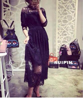 dress goth nu goth black jfashion japan harajuku pastel goth lace maxi maxi dress