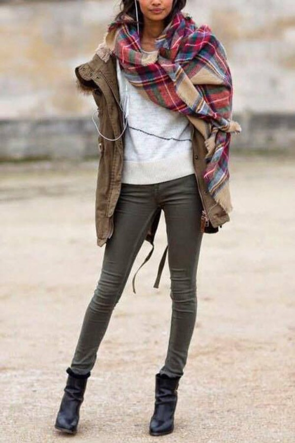 scarf flannel scarf fall outfits