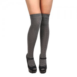 Knee High Cable Knit Socks (Grey)