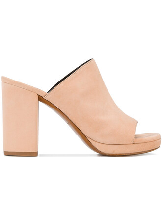 women mules leather nude suede shoes