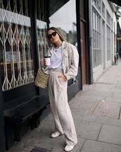 top,white top,blazer,pants,shoes