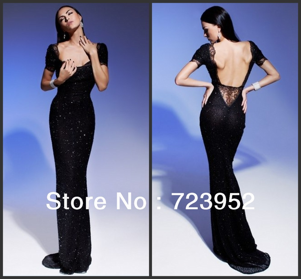 Dress lace dress long dress black dress sequins lace blue dress - Aliexpress Com Buy Black Long Dresses 2014 Sexy Sheath Sequin And Lace Backless Short Sleeve Formal Evening Gown Sparkly Alluring Women Dresses From