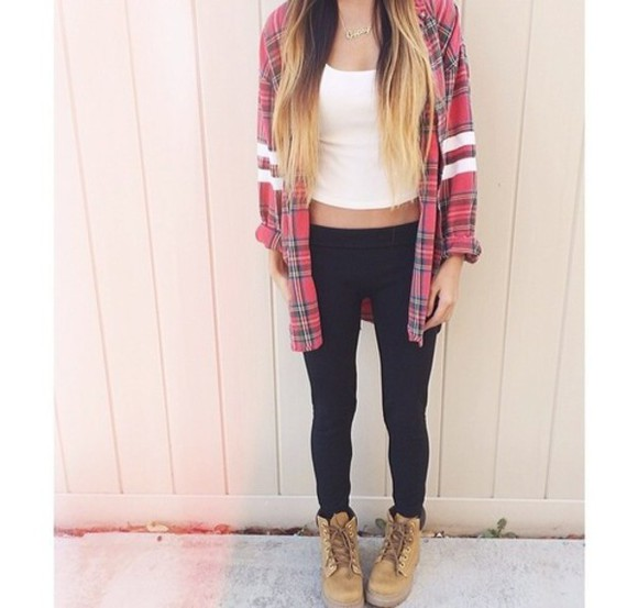 crop tops t-shirt leggings flannel timberlands ombre hair ootd cozy flannel shirt