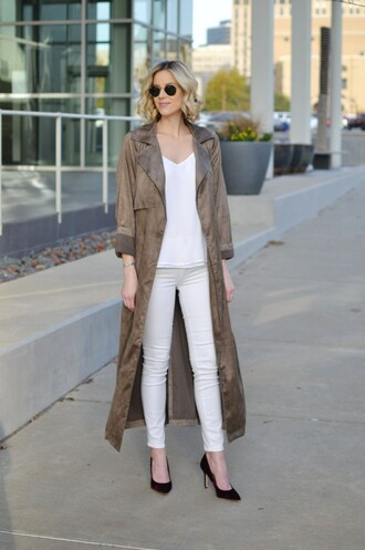 straight a style blogger coat tank top jeans shoes duster coat long coat skinny jeans white jeans high heel pumps pumps grey long coat