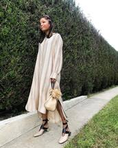 dress,long dress,stripes,striped dress,bag,shoes