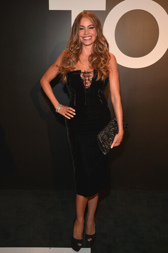 dress bustier dress midi dress sofia vergara black shoes