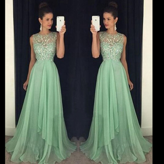 dress boat neck dress long prom dress green prom dress chiffon prom dress beading prom dreses backless prom dress sleeveless prom dress elegant prom gowns party dress mint