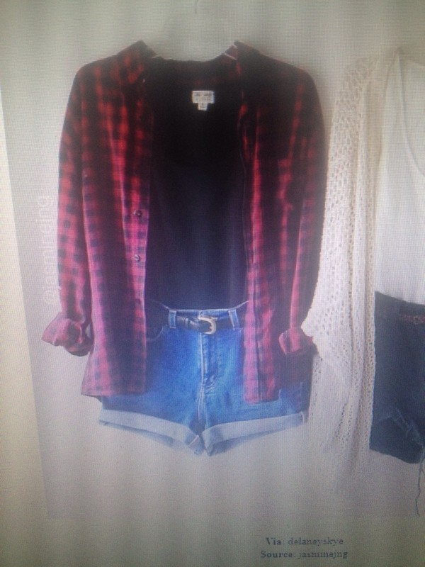 blouse cute flannel red blue belt chic miley cyrus black casual