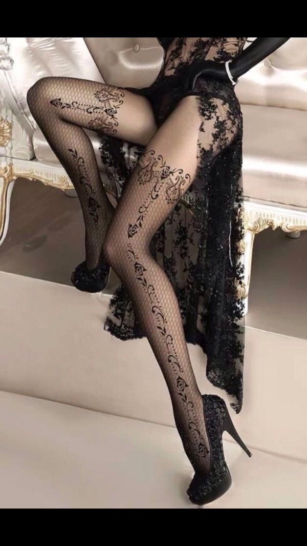 underwear nylon tattoo tights tights black sexy lingerie lace high heels platform shoes stilettos
