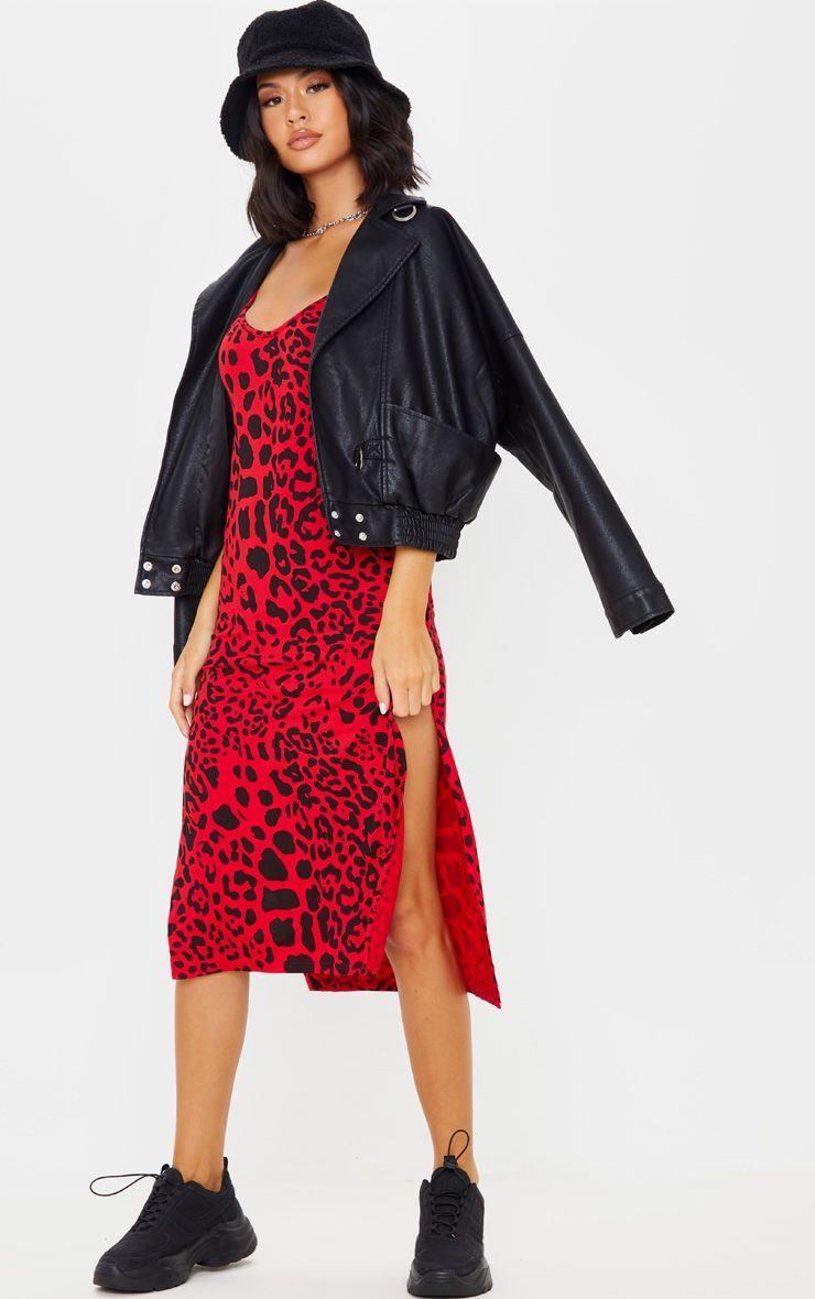 Red Leopard Print Jersey Split Midi Dress