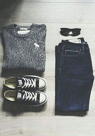 grey sweater abercrombie & fitch