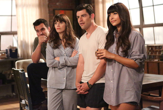 pajamas new girl tv show grey pajamas mens t-shirt menswear zooey deschanel hannah simone jake johnson max greenfield