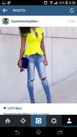 neon yellow blouse peplum top peplum
