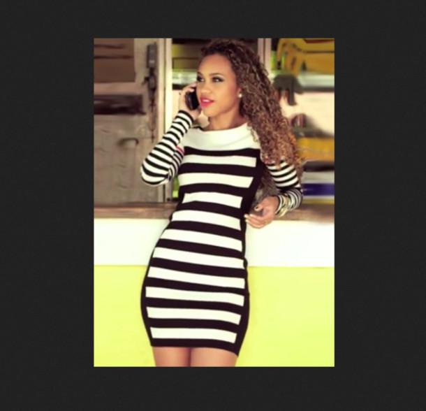 b1d9462e11311 dress dress bqueen fashion girl bodycon chic block stripes knit white black