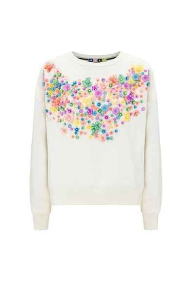 blouse white blouse flowery blouse flowery sweater